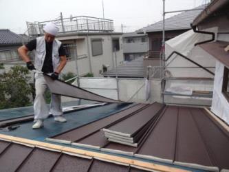 屋根 縦平葺き